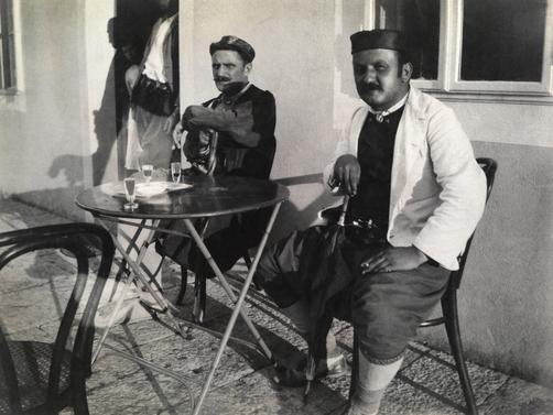 Montenegrin men in cafe