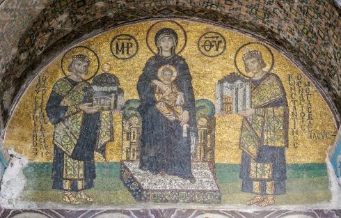 Mosaïques de l'entrée sud-ouest de Sainte-Sophie (Istanbul, Turquie)