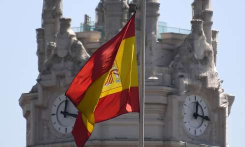 Spanish flag Cibeles Palace