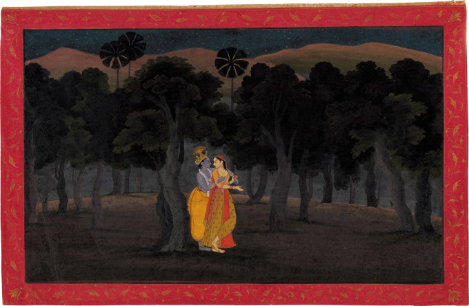 'The Lovers Radha and Krishna in a Palm Grove'; miniature painting from the 'Tehri Garhwal' <i>Gita ­Govinda</i> (Song of the Cowherds), Punjab Hills, kingdom of Kangra or Guler, circa 1775–1780