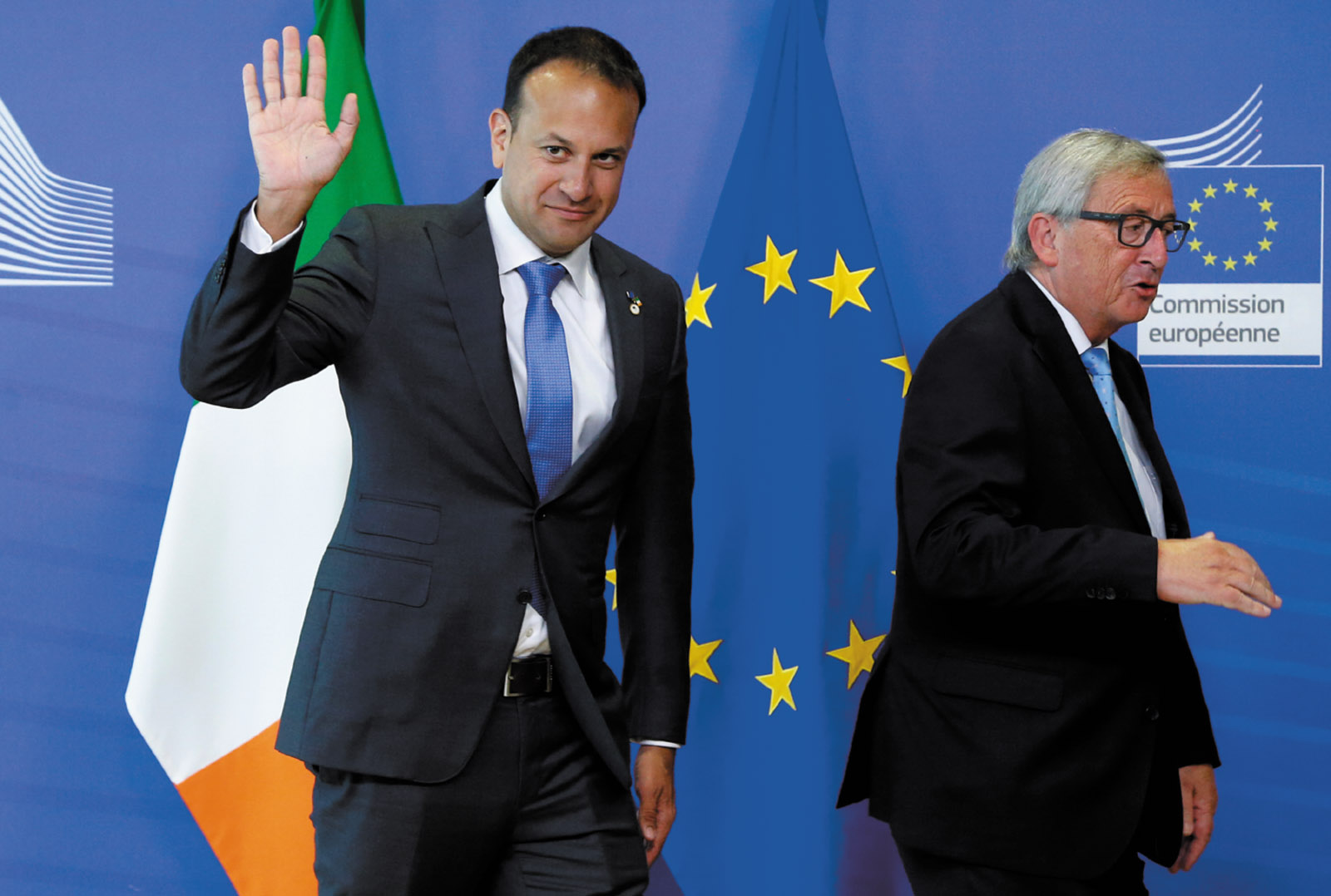 Irish Prime Minister Leo Varadkar and European Commission President Jean-Claude Juncker at a summit of the EU, Brussels, June 2017