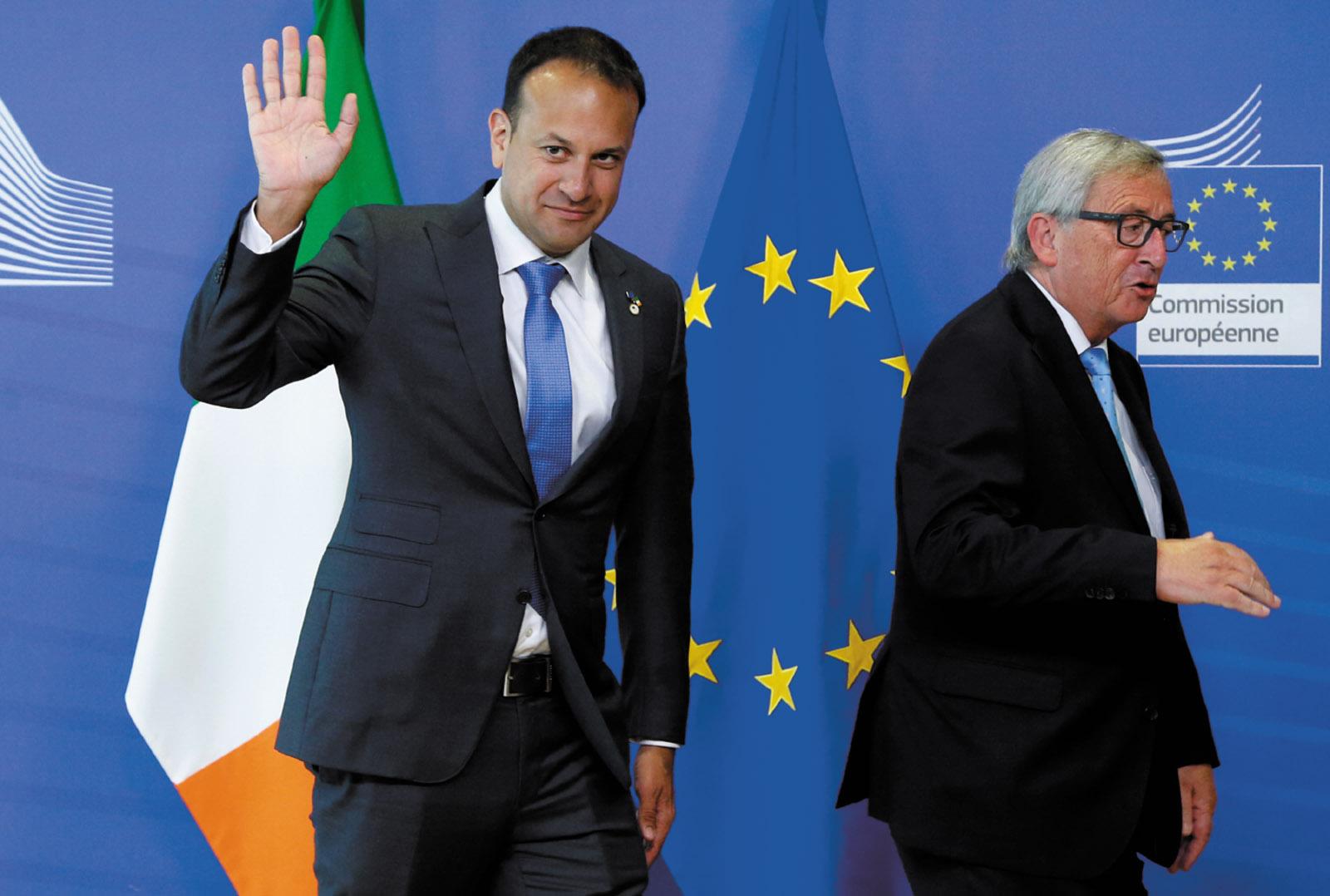 Irish Prime Minister Leo Varadkar and European Commission President Jean-Claude Juncker at a summit of the EU, Brussels, June 2017