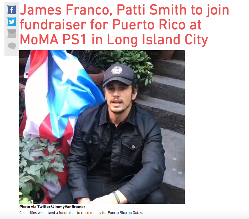 Puerto Rico fundraiser James Franco