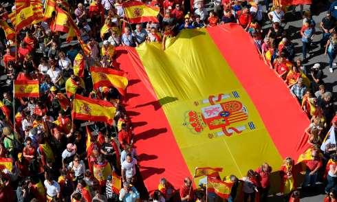 Sapnish flag demonstration