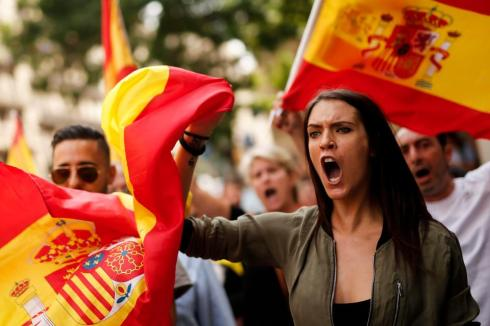 Spanish flag demonstrators