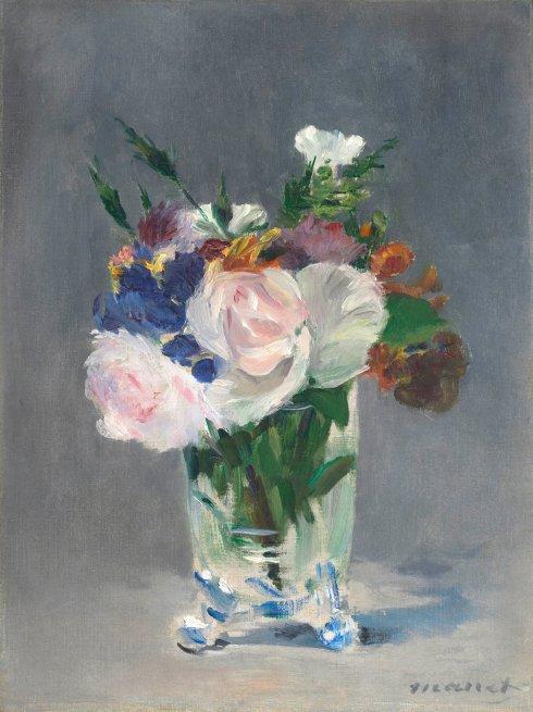 Manet flowers in a crystal vase